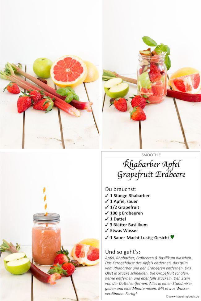 Smoothie Rhabarber Erdbeeren Grapefruit Apfel // Smoothie Rhubarb Strawberry Grapefruit Apple