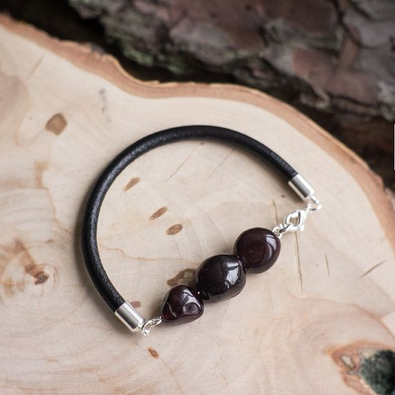 Garnet leather bracelet with natural  by MyROCKandSOUL
