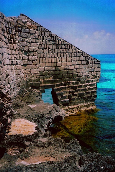 Ancient  abandoned structure on the Island of Favignana, Sicily, Italy Trapani