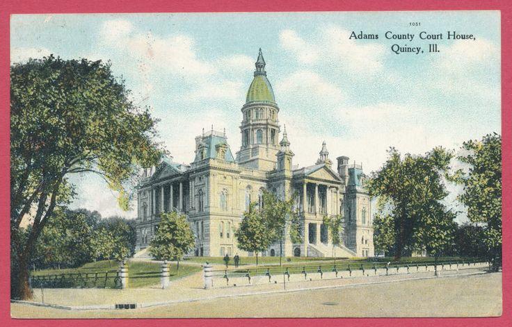 Adams County Court House Quincy IL Illinois postcard