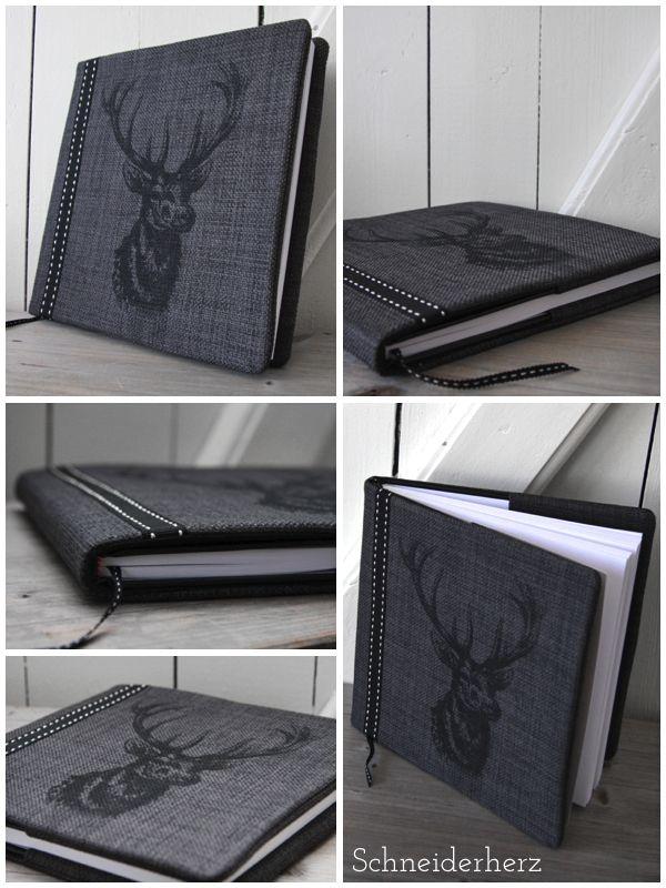 Siebdruck Buchhülle Hirsch DIY