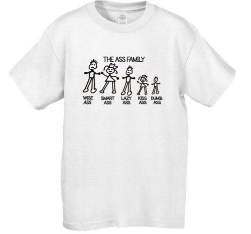 The Ass Family Black - Cherrybargains Funny Men's Short Sleeve T-shirt Size - XL - White