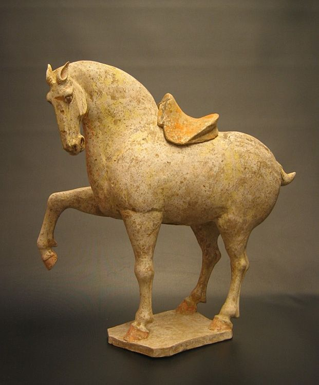 "Prencing Horse China Tang Dynasty (618 - 906 AD) Painted Terracotta H: 14"" (Tested by Oxford Authentication Lab)"