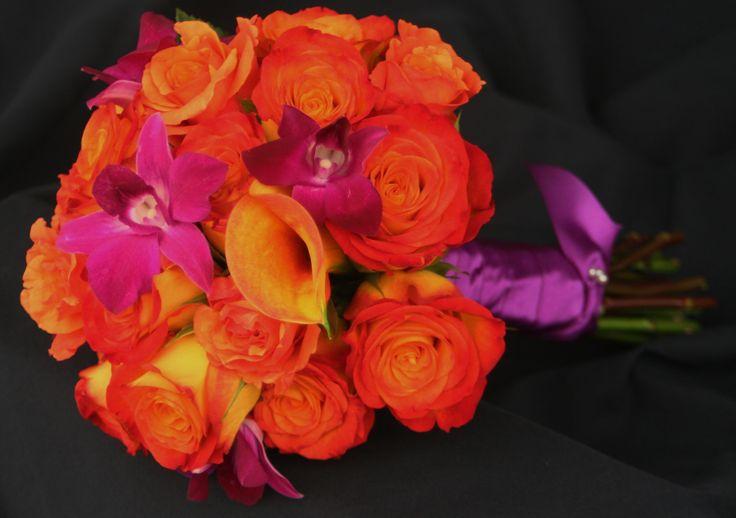 I like the rich color.Orange Wedding, Orange Flower, Ranch Wedding, Purple Dendrobium, Calla Lilies, Dendrobium Orchids, Flower Ideas, Wedding Flower, Orange Circus