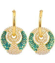 Buy Adorable Pearl Green White Meenakari Hoop Earrings hoop online
