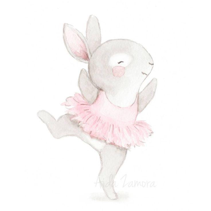 """1,181 Likes, 10 Comments - Illustrator (@aidazamorailustracion) on Instagram: """"Esta ilustración de la conejita bailarina la puedes encontrar en mi tienda, es ideal para decorar…"""""""