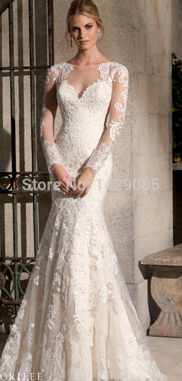 Custom Made vestido de noiva Ver Através Voltar vestidos de Noivas 2014 Sereia vestidos de casamento da luva vestido de Casamento
