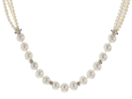 """Pearls: the easiet (and prettiest) way to add class to any outfit! - 3-13mm White Cultured Freshwater Pearl With 0.6ctw Bella Luce(R) Rhodium Over Silver 18"""" Necklace"""