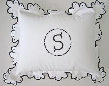 Julia B. Calais Boudoir Sham: Embroidered Shams, Bespoke Linens, Boudoir Shams, Julia, Calai Black, Calai Boudoir, Custom Linens, Beds Linens, Monograms