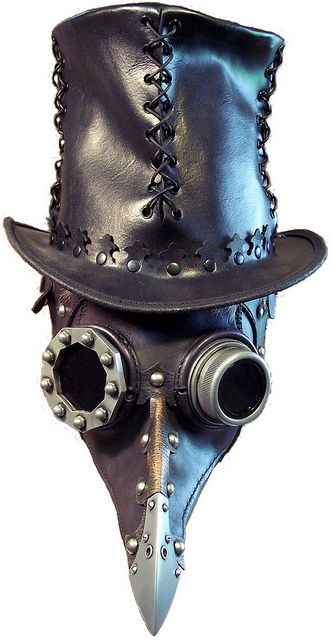 Steampunk leather and resin plague doctor mask and leather top hat.