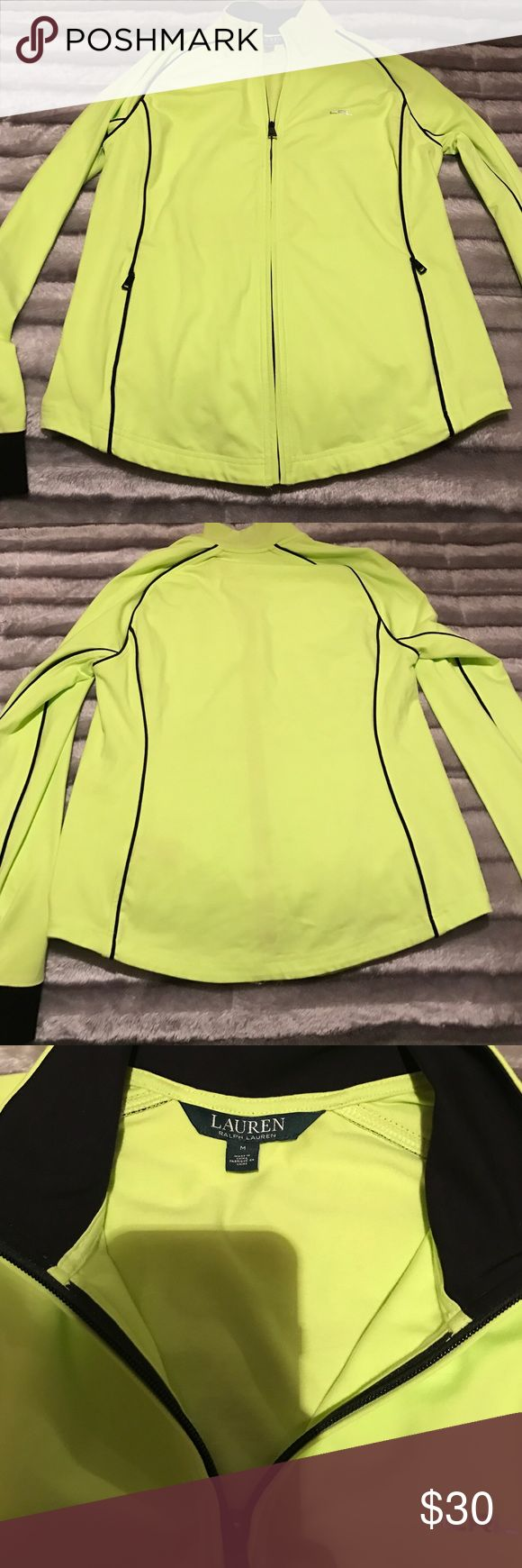 Woman's polo Ralph Lauren zip up shirt. It is woman's size medium, color is bright yellow & black. Green label Lauren Ralph Lauren Tops Sweatshirts & Hoodies