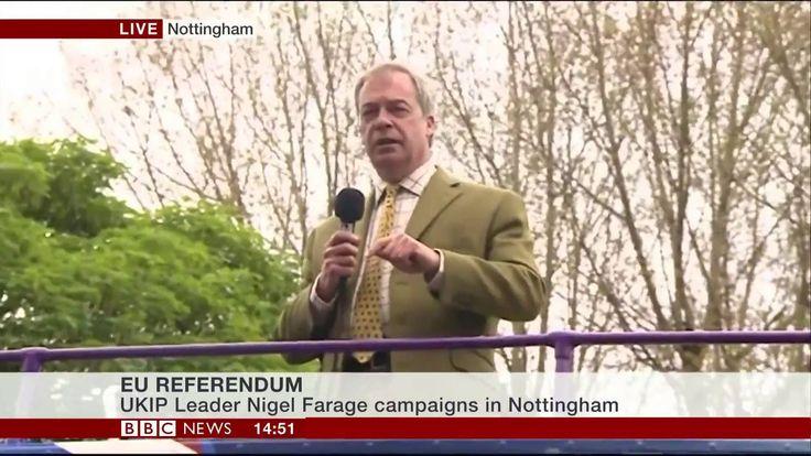 Breaking : Nigel Farage Battle Bus Message on EU Referendum - 24May 16
