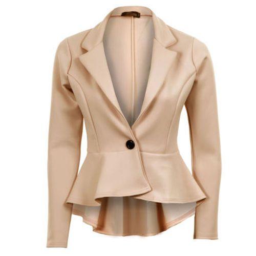 New Womens Ladies Smart Peplum Crop Frill Business Office Office Blazer Jacket   eBay