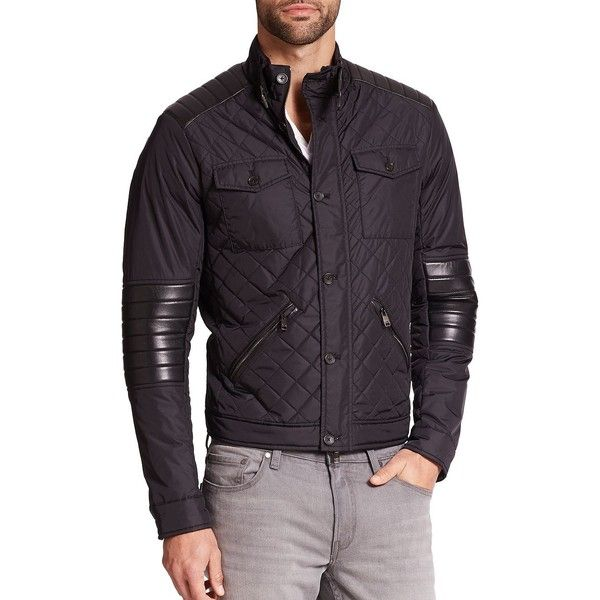 Michael Kors Quilted Leather-Trimmed Jacket (11.290 RUB) ❤ liked on Polyvore featuring men's fashion, men's clothing, men's outerwear, men's jackets, mens jackets, mens light weight jackets, mens leather jackets and mens quilted jacket