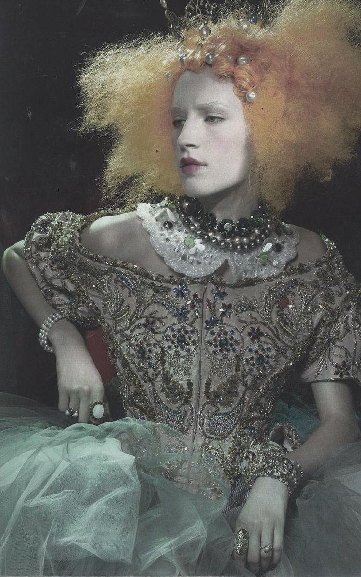 Lorena Agnelli, photographer unknown.    Corset and skirt: Vivienne Westwood Gold Label /Crown: Slim Barrett /Jewellery: Marni, Louis Vuitton, Temperley London, Pebble London, Links of London