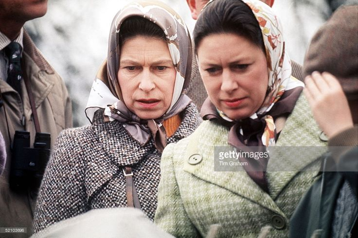The Queen And Princess Margaret At The Badminton Horse Trials.