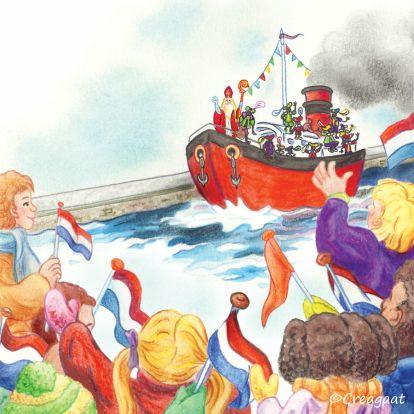 Stoomboot Sinterklaas : Nostalgisch geillustreerde kaart van de intocht van Sinterklaas