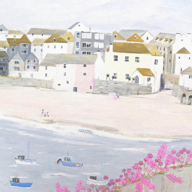Harbour Beach (W446) Beach & Coastal Greetings Card by Hannah Cole http://www.thewhistlefish.com/product/w446-harbour-beach-greetings-card-by-hannah-cole #stives #cornwall