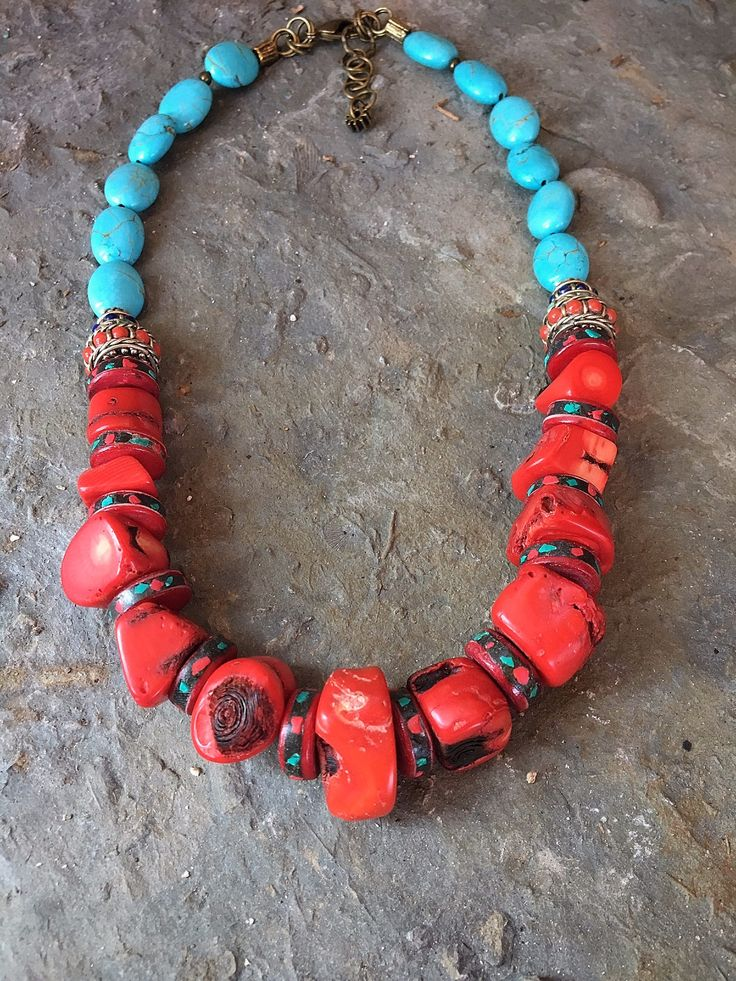 Chunky Necklace, Natural Necklace, Coral Beads, Turqouise Beads, Bone Beads, Rustic Necklace, Boho Necklace, Statement Necklace by ReTeTeer on Etsy