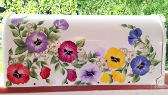 painted mailboxes -  lovely colorful  pansies post mount mailbox for sale, available at www.cottageandcabana.com