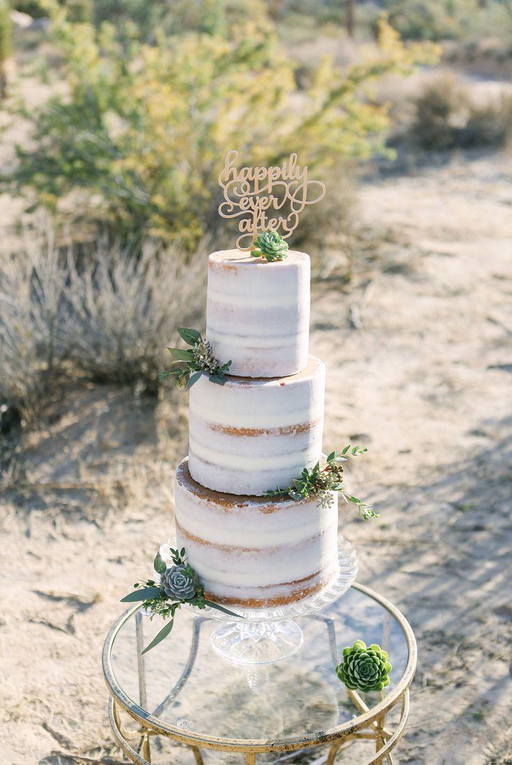 naked caked -- A Romantic Joshua Tree Wedding Inspiration - #UtterlyEngaged