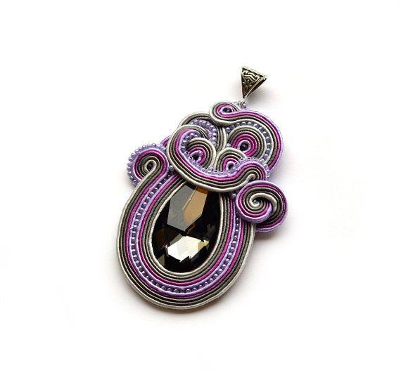PURPLE OCTOPUS Necklace pendant statement necklace Swarovski 3D art nouveau art deco jewelry gift for her women luxurious luxury gift gray