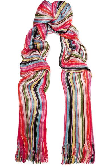 Missoni - Striped Crochet-knit Scarf - Red - one size