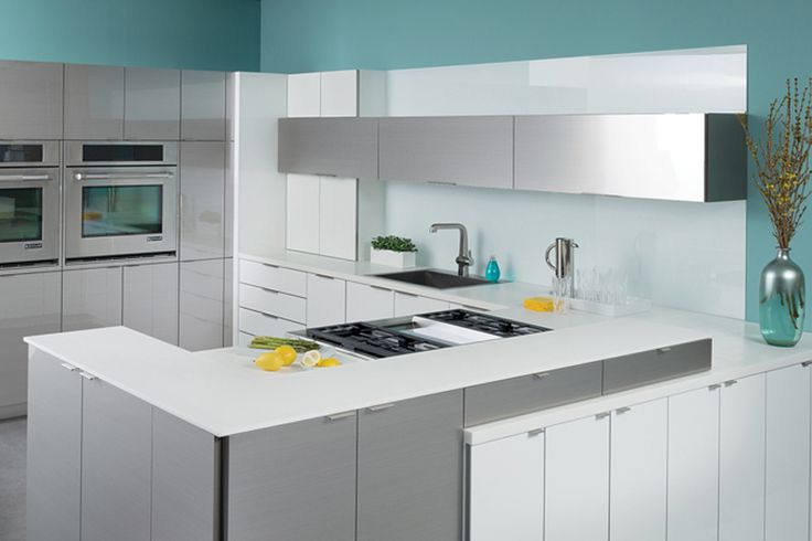 Ultra Modern Kitchen using Dura Supreme Alectra Cabinetry in a wired foil finish.