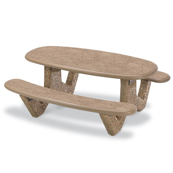 Awesome 6u0027 Oval Concrete Picnic Table With Polished Stone Finish | Picnic Tables |  Upbeat.