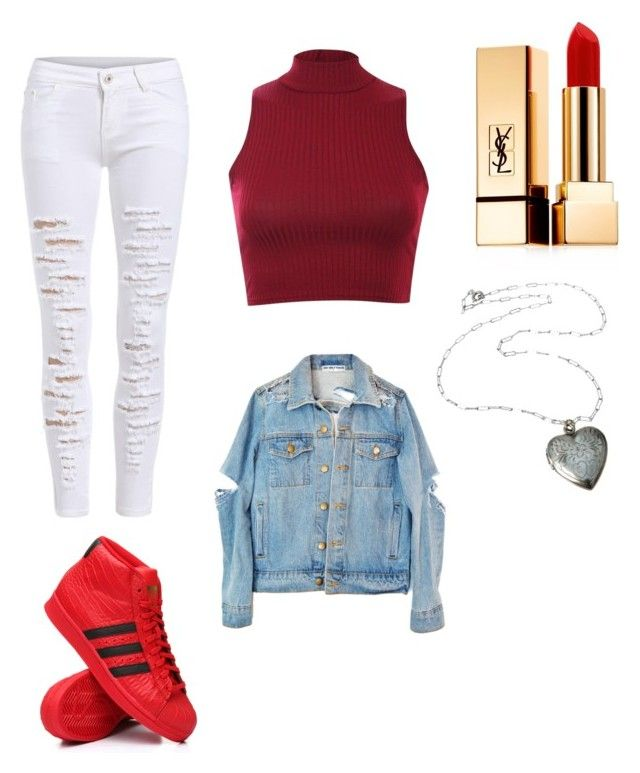 outfits by kehichabelle on Polyvore featuring polyvore fashion style Pilot adidas Yves Saint Laurent clothing