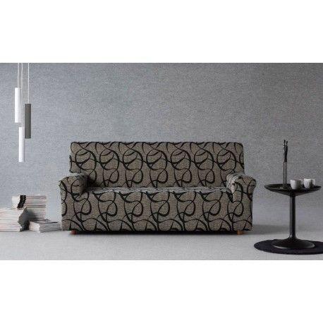 Funda de sofá elástica Messina. Escuda tu sofá y sillas de los impactos diarios con las fundas elásticas Messina de la casa Zebra textil. Diseño de rayas asimétrico, composición tejido 60% poliéster - 38% algodón - 2 poliéster que permite un facil mantenimiento en tu lavadora doméstica. Disponible en 4 colores diferentes blanco, burdeos, marrón y negro. Medidas:  1 Plaza: 70/ cm 2 Plazas: 130/ 170cm 3 Plazas: 170/ 170cm  Maxi:    210/ 240cm