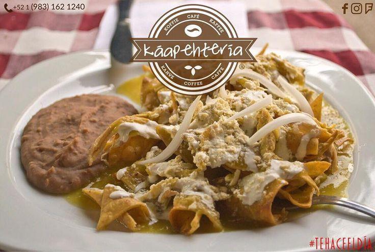 """Pide para llevar por servicio a domicilio o para disfrutar en nuestra acogedora cafetería: """"Káapehtería Chetumal Obregón"""" unos deliciosos #chilaquiles preparados con mucho cariño para ti... TE ESPERAMOS!  PEDIDOS AL: (983) 162 1240.  #Káapehtería #TeHaceElDía #ConsumeLocal #KáapehCOMBO #Káapehtear #KáapehteAMIGOS #Cafetería #Café #Alimentos #Postres #Pasteles #Panes #Cancún #Chetumal #México"""