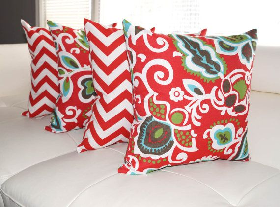 4th Of July Sale   Chevron Red And Faxon Rojo Red Outdoor Throw Pillow   4