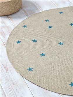 Jute-Teppich, rund, Sternen-Muster