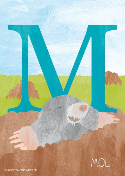 De M is van mol. Hij leeft onder de grond en kan lange gangen graven met zijn handen!