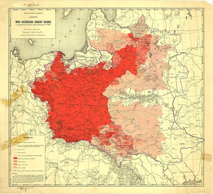 Map of Poles in Central and Eastern Europe according to the 1916 German census. [[MORE]]Purple line represents the 1772 borders of Poland. Subsequent shades of red represent, from top to bottom: •...