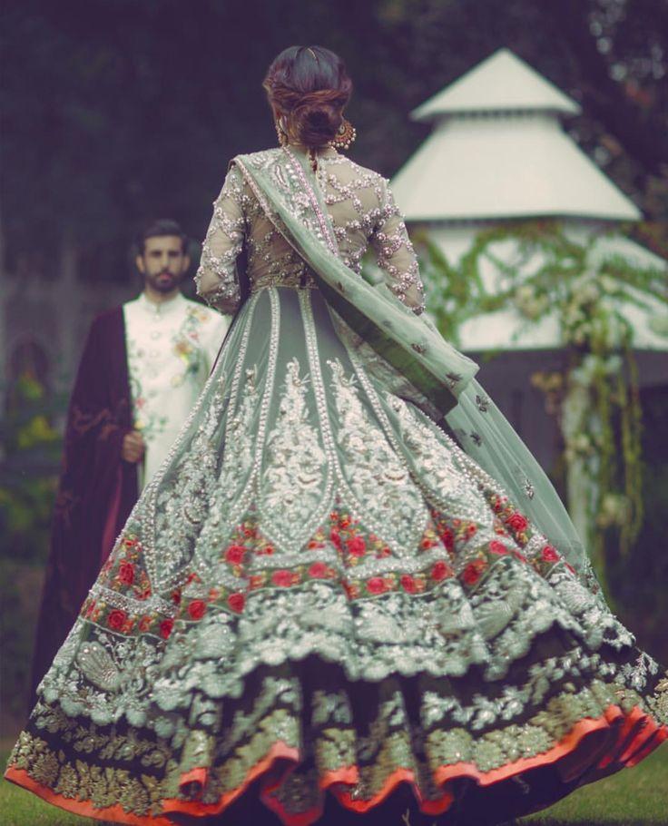 Indian Wedding Suits - Mint Green Jacket Anarkali   WedMeGood#wedmegood #indiansuit #weddingsuit #anarkalisuit #mintgreen #suits
