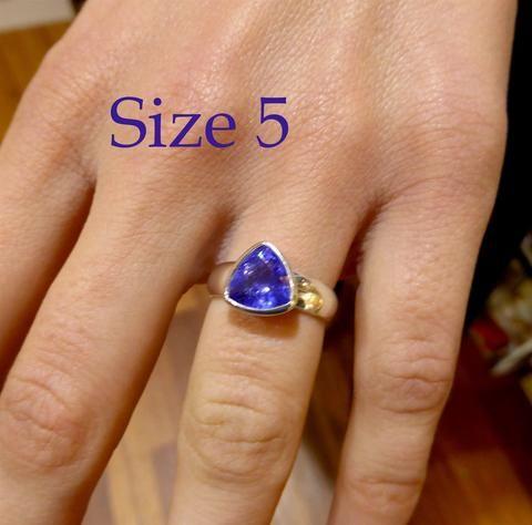 Tanzanite Ring Trillium Cut | Genuine Stone | 925 Sterling Silver | Size 5 | Spiritual Superlative | Authentic stone from Tanzania | Mt Kilimanjaro | Crystal Heart Melbourne Australia since 1986