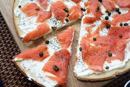 Smoked Salmon Pizza 1 partially baked extra thin pizza crust Olive oil