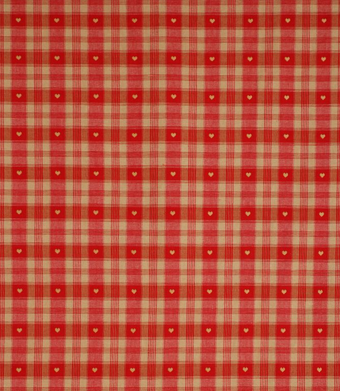 Gingham fabric with hearts. Made from 100% cotton. A great curtain and upholstery fabric which would be ideal for a country style kitchen. Buy online or visit one of our shops where you can see our vast range of designer clearance fabrics. Why not take advantage of our made to measure service and have your curtains and blinds made and handfinished in our Cotswold workroom.
