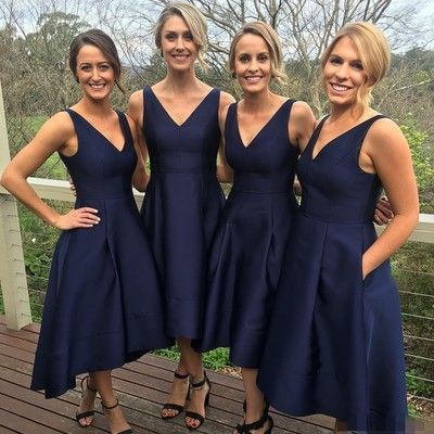 royal blue v-neck satin bridesmaid dresses chic tea-length bridesmaids dresses cheap a-line wedding party dress pb10035