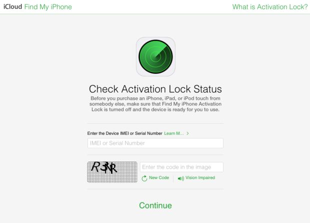It's about iPhone activation lock status
