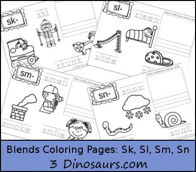 Free Blends Coloring Pages Sk, Sl, Sm, Sn 3Dinosaurs