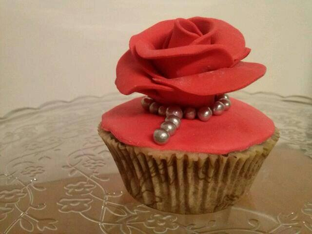 Cupcake rosa perlada