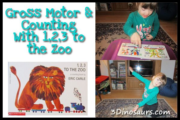 Gross Motor & Counting with 1,2,3 to the Zoo - 3Dinosaurs.com