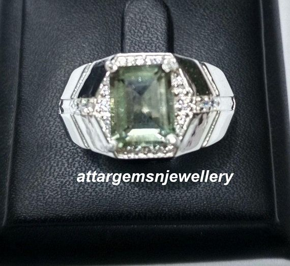 Natural Green Amethyst Gemstone with 925 Silver Ring For Men/'s