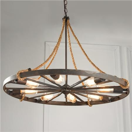 Vintage Wagon Wheel Chandelier