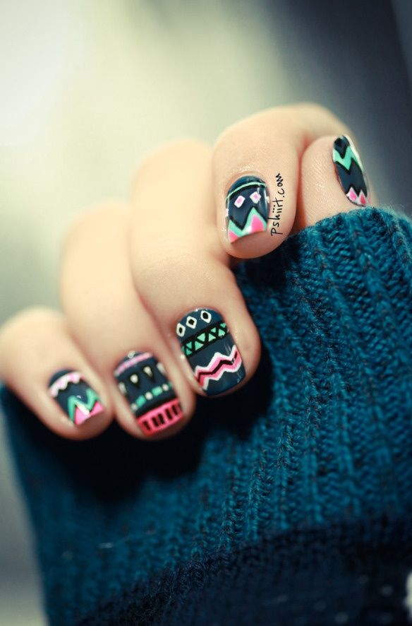 aztec / tribal themed nail art