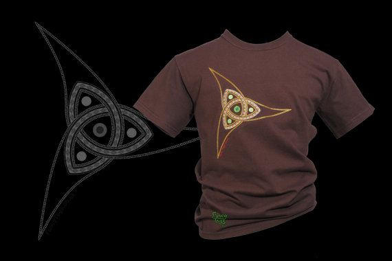 Triquetra Embroidery Brown Celtic T Shirt, Tribal Tattoo Wearable Art Tshirt Man Clothes Plus Size Woman Clothing UK Shop Birthday Gift Idea...