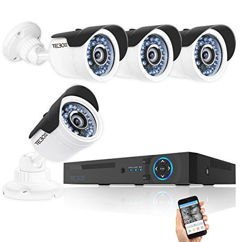 TECBOX Camera Security System 4 Channel 720P AHD Home Video Surveillance Equipment DVR Recorder No Hard Drive with 4 HD 13MP Waterproof Night Vision Indoor Outdoor CCTV System *** See this great product.